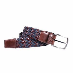 Cinturón trenzado marrón-azul