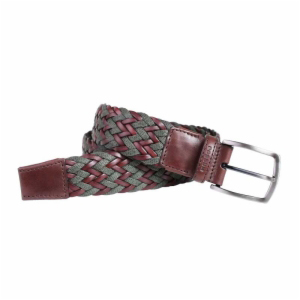 Cinturón trenzado marrón-verde