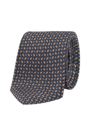 Corbata azul estampada